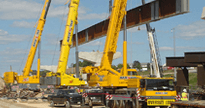 Pictured above is a multi crane bridge lift in Baltimore Maryland, using three All Terrain Cranes.