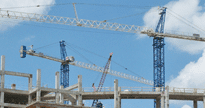 Pictured above are several tower cranes building the Orlando Events Center