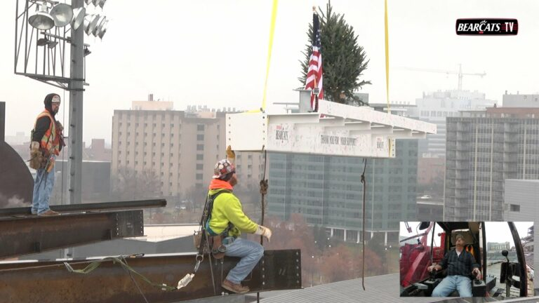 Nippert Stadium Topping Out - Steel Beam Lifted Into Place