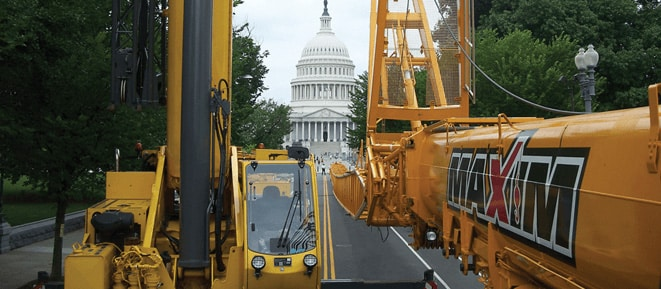 maxim cranes by the capital building in washington dc